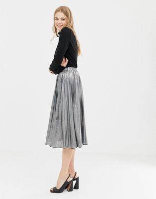 QED London pleated metallic midi skirt