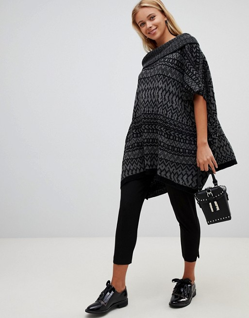 1fea476ce9c86a QED London – Poncho-Pullover mit Rollkragen   ASOS