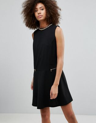 QED London Shift Dress With Zip Detail