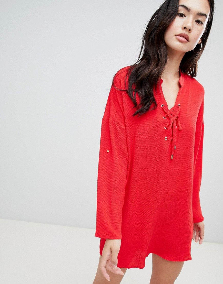 qed london shift dress-red