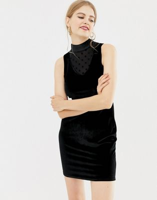 QED London velvet mini dress with mesh insert