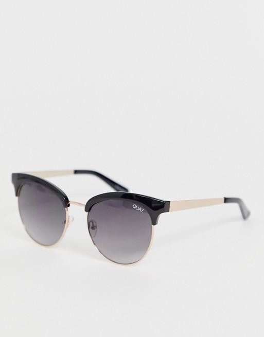 Quay Australia cherry round sunglasses in black