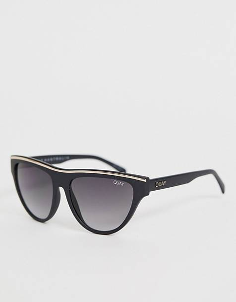 Quay Australia flight risk round sunglasses in black
