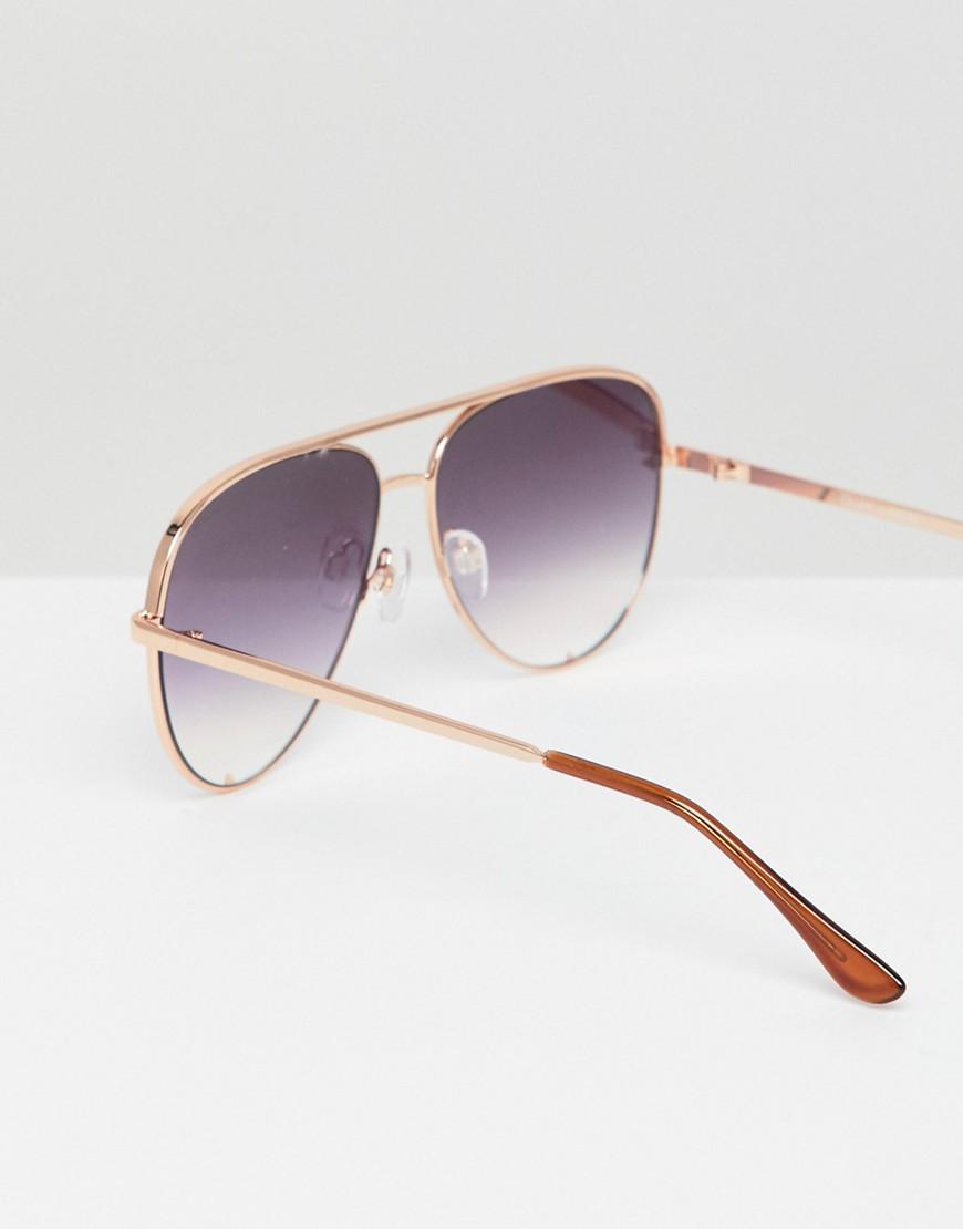 Quay Australia X Desi High Key Aviator Sunglasses In Rose Gold by Quay Eyeware