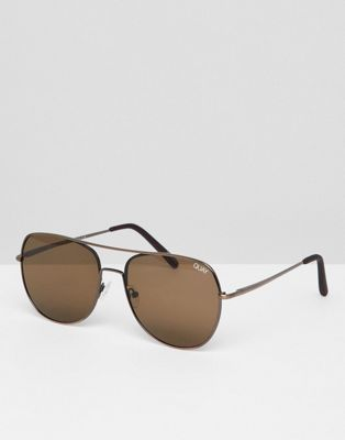 Quay Aviator Sunglasses In Brown
