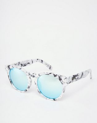 Quay High Emotion Round Marble Mirror Sunglasses