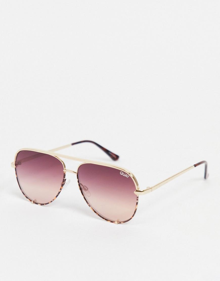 Quay - High Key - Små aviator-solbriller i pink til kvinder-Lyserød