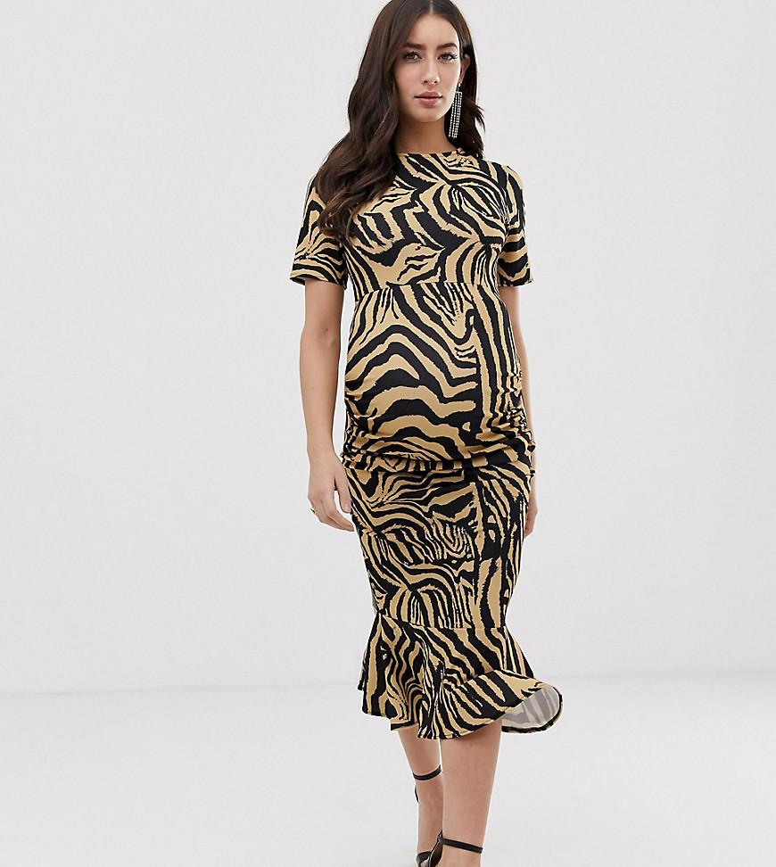 Queen Bee Maternity - Kjole med korte ærmer i zebraprint-Multifarvet