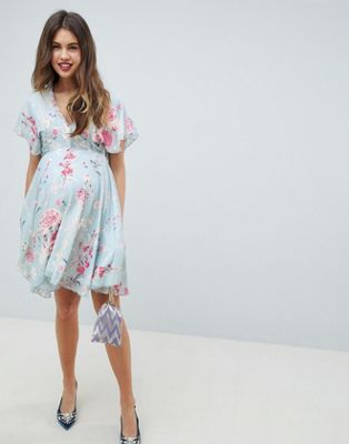 Queen Bee Midi Skater Dress In Pastel Floral Print