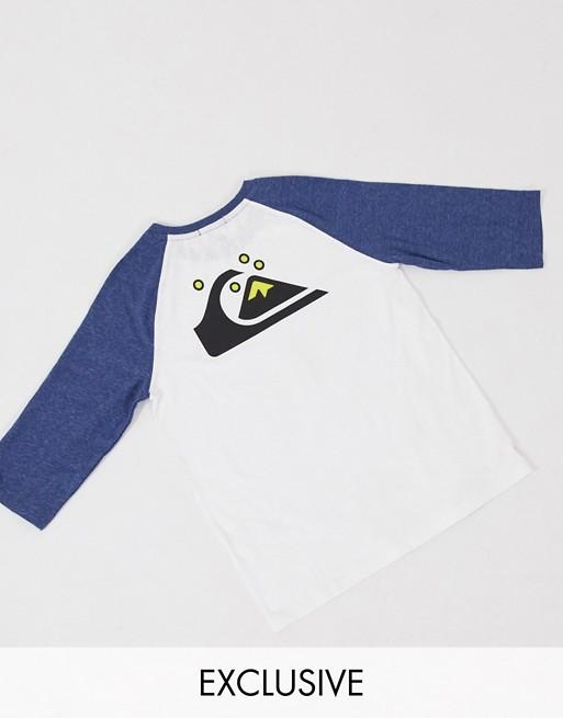 Quiksilver – Biały raglanowy T-shirt z długim rękawem; tylko na stronach ASOS