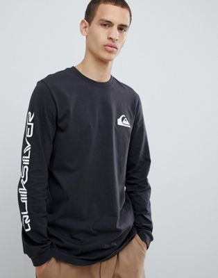 Quiksilver -  Original Quik Collage - Top nero a maniche lunghe