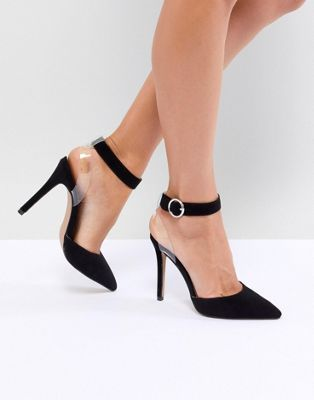 Image 1 of QUPID Clear Strap Pointed Heels
