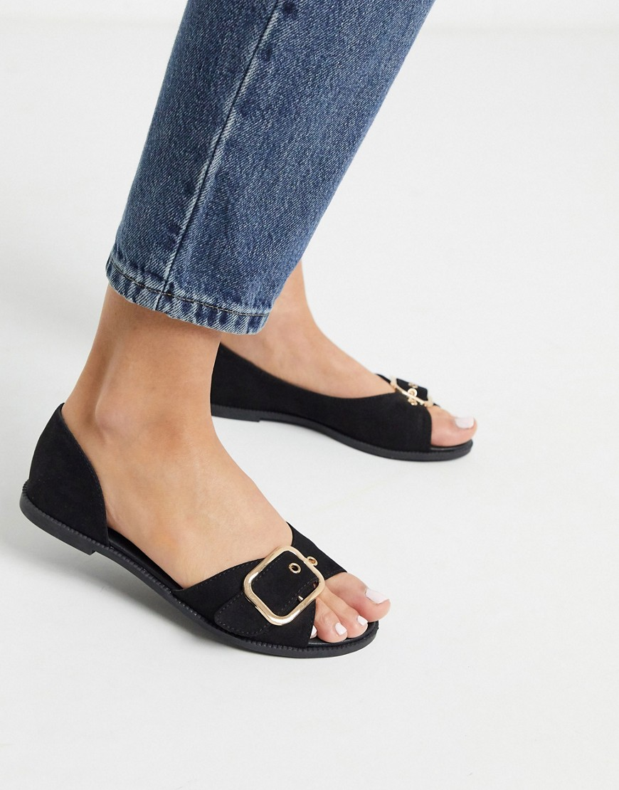 Shoes by Qupid An easy, everyday option Slip-on style Buckle strap Peep toe Flat sole