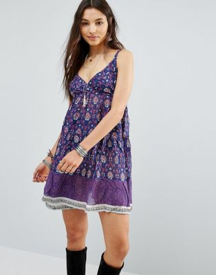 Raga Indigo Babydoll Printed Cami Dress