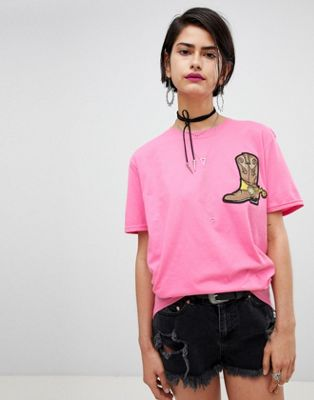 Ragyard Oversized T-Shirt With Cowboy Boot Patch