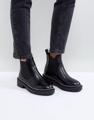 RAID Adelina Black Chunky Studded Chelsea Boots