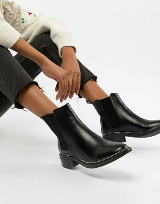 RAID Apple Black Studded Chelsea Boots