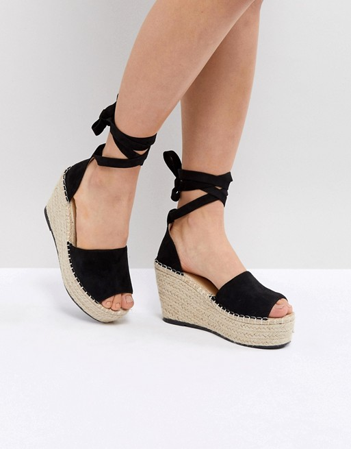 215cf40055 RAID Brigid Black Espadrille Wedge Sandals | ASOS