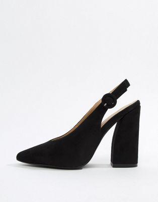 RAID Brook black sling back block heeled shoes