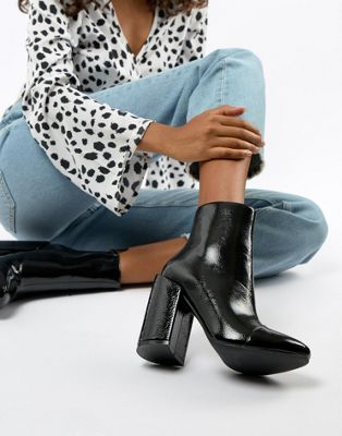RAID Dolley Black Patent Heeled Ankle Boots