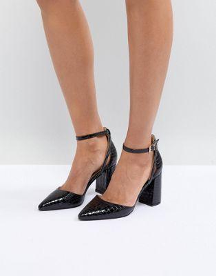 RAID Katy Black Croc Heeled Shoes