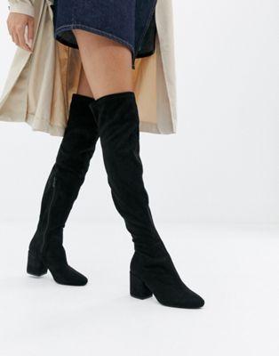 RAID – Kola – Schwarze Overknee-Stiefel mit rundem Zehenbereich