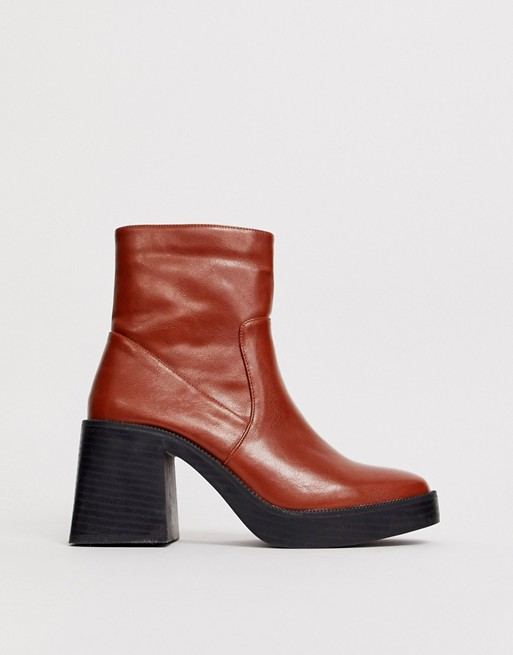 RAID Lexus brown chunky ankle boots
