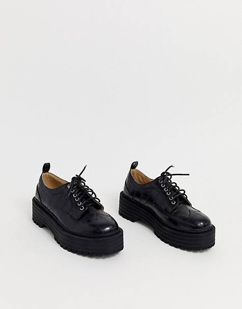 RAID Maleah chunky lace up flatform shoes in black croc