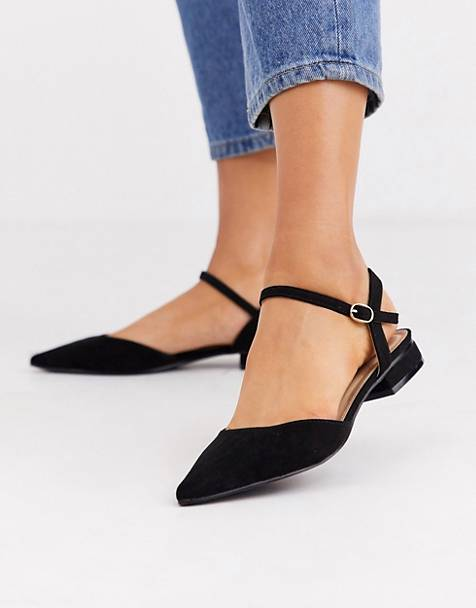RAID Myla black ankle strap flat shoes