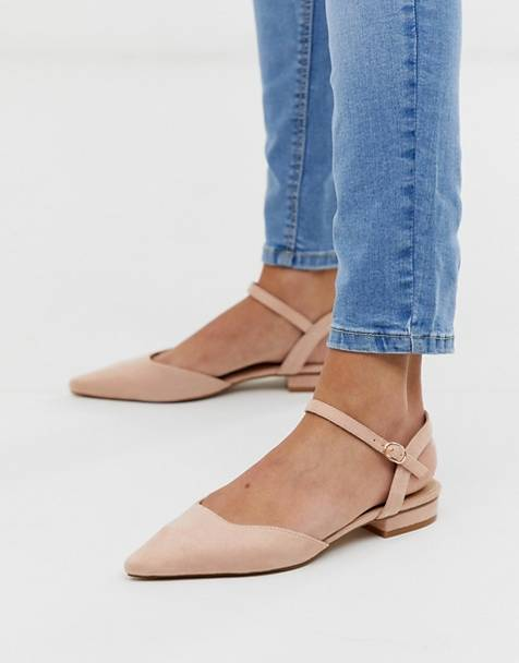 RAID Myla blush ankle strap suede flat shoes