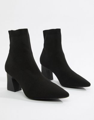 RAID Shawn black knitted stretch sock boots