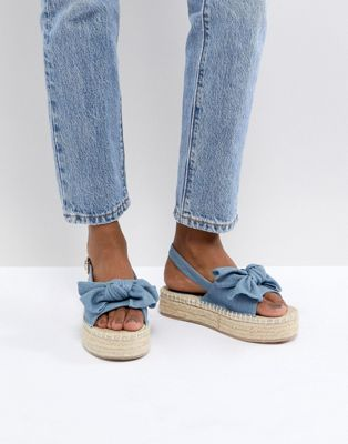 RAID Terry Chambray Flatform Denim Espadrilles