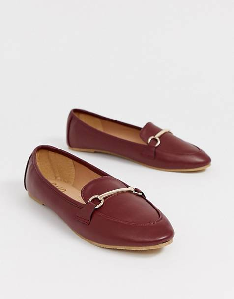 RAID Viera oxblood snaffle detail flat shoes