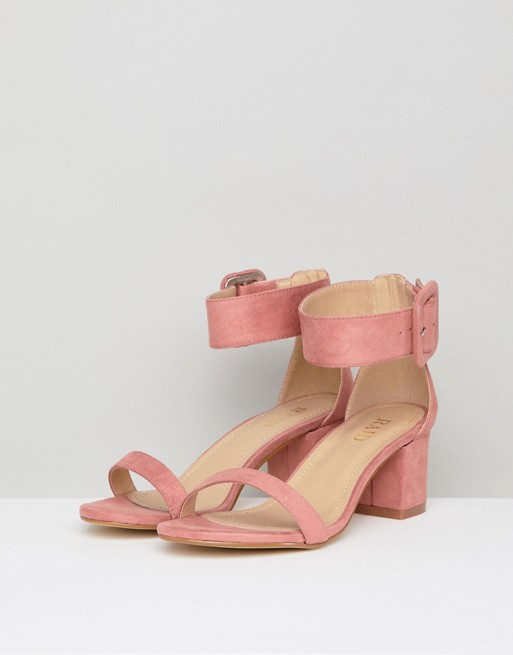 fe909da12b RAID Wide Fit Frances Pink Suede Mid Block Heeled Sandals   ASOS