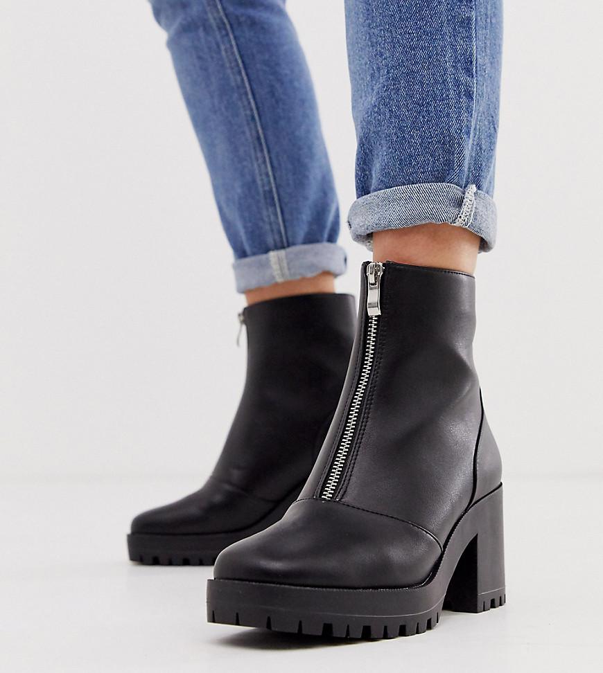 RAID Wide Fit – Janella – Exklusive Stiefel in Schwarz mit dicker Sohle