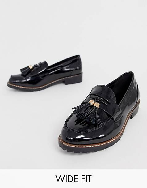 RAID Wide Fit Maya black patent chunky flat loafers