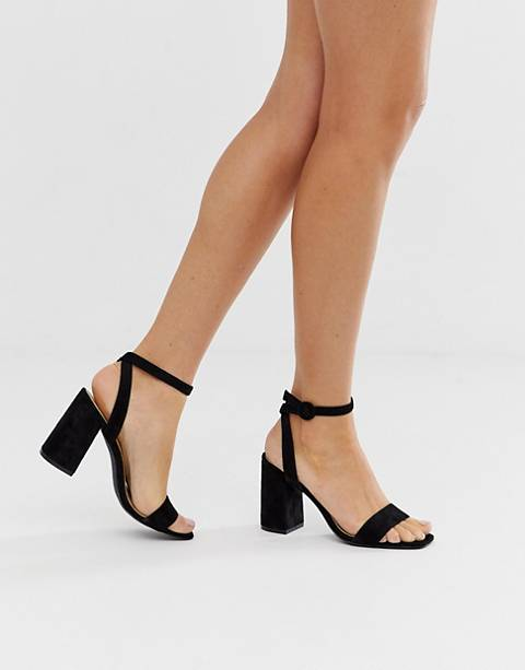 RAID Wink black square toe block heeled sandals
