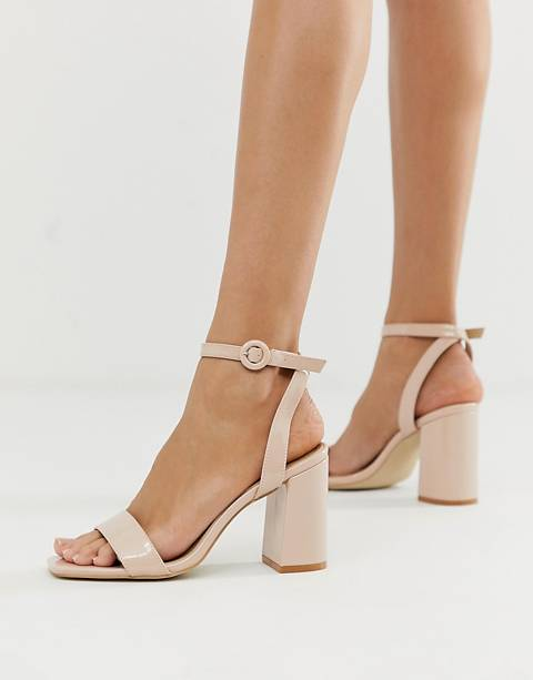 RAID Wink blush patent square toe block heeled sandals
