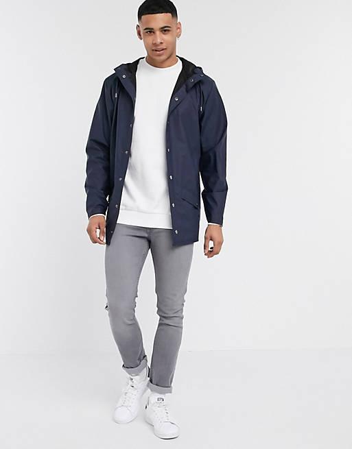 Rains - let mørkeblå jakke med hætte