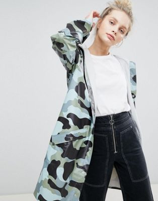 Rains Long Camo Jacket