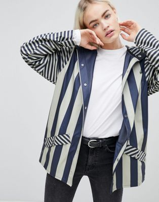 Rains Short Distorted Stripe Rain Jacket