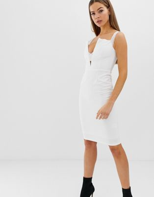 Rare London bardot cross strap midi dress