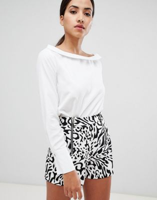 Rare London faux suede bardot shirt