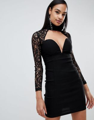 Rare London high neck sweetheart lace dress