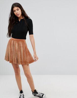 Расклешенная бархатная мини‑юбка Boohoo Boohoo