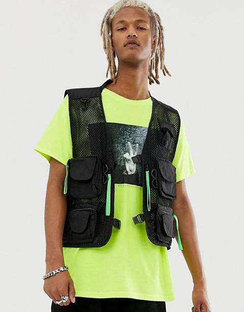 Reclaimed Vintage black vest with neon pullers