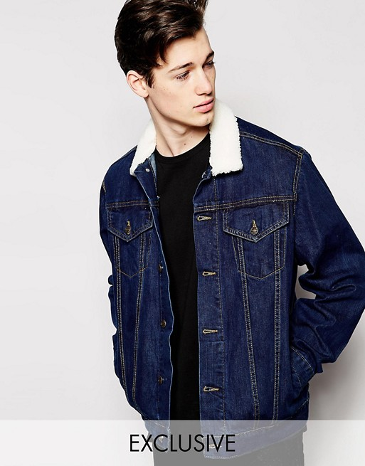 fe4cc9f1c41 Reclaimed Vintage Denim Jacket With Faux Fur Collar | ASOS