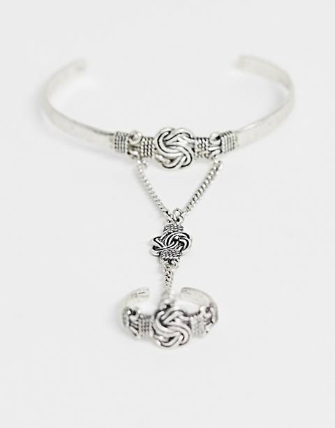 Reclaimed Vintage inspired bangle hand harness in silver exclusive at ASOS
