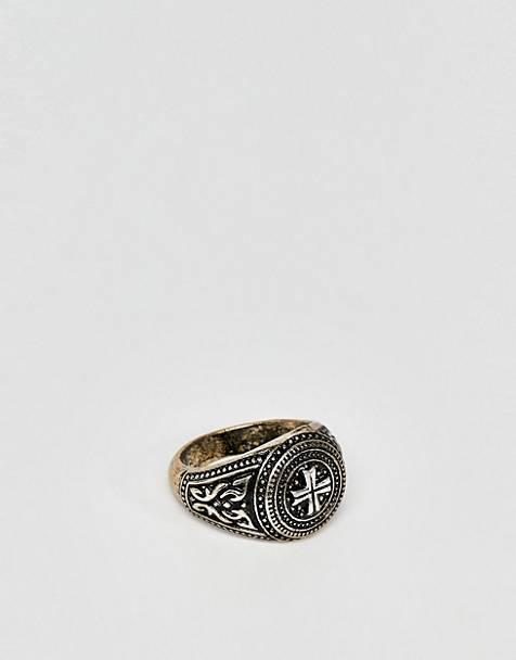 be6761ba15798 Reclaimed Vintage - inspired - Chevalière avec croix gravée - Exclusivité  ASOS