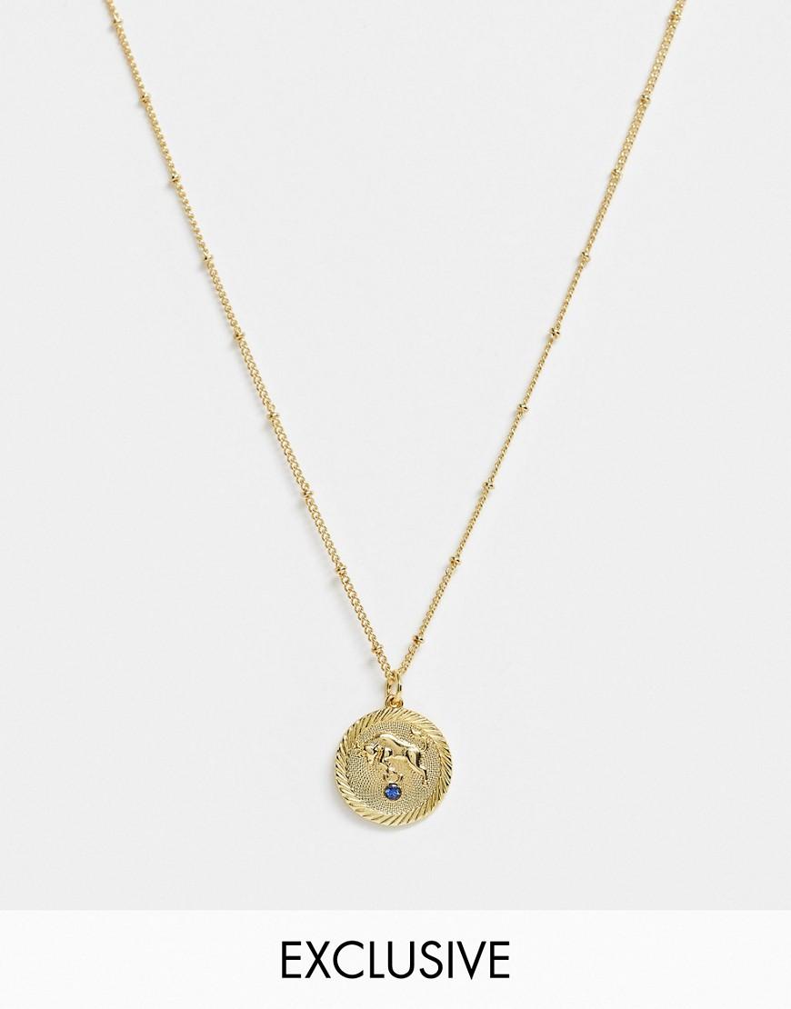 Reclaimed Vintage Inspired   Collana Placcata Oro 14 Ct Con Moneta Con Segno Del Toro by Reclaimed Vintage Inspired